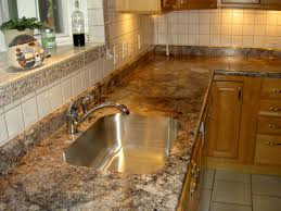 granite countertop kitchen cabinets premade metal backsplash