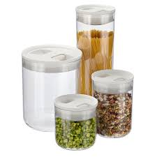 Clear Plastic Kitchen Canisters Click Clack Pantry Canisters The Container Store
