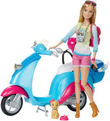 barbie pink passport travel doll with scooter toys