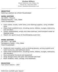 Resume Template Hospitality Housekeeping Resume Template Gfyork Com