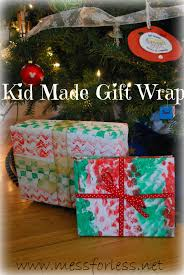 kid made gift wrap mess for less