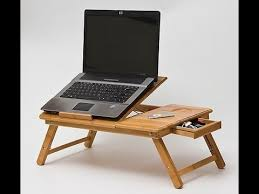 Laptop Desk Wooden Bamboo Laptop Table For Bed With Big Cooling Fan The