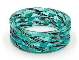 murano glass bangle bracelet images Aqua white black twist murano glass bangle set of four jpg