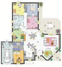 plan de maison plain pied 4 chambres maison familiale 4 chambres avec bureau terrasse garage et cellier