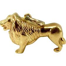 gold lion statue vintage 9ct gold lion charm fob pendant 1969 from m4gso on ruby