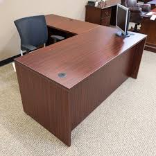 Office Desk Used Used Ofd 66 Left L Shaped Office Desk Mahogany Del1546 003