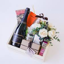 local gift baskets celebration gift box with flowers delivery in santa barbara
