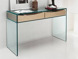 modern glass desk with drawers nella vetrina tonelli gulliver contemporary glass console with drawers