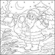 Dessin à imprimer le père Noël dans un paysage dhiver  coloriage