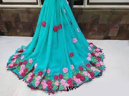 ribbon fabric fabric georgette ribbon work saree designs