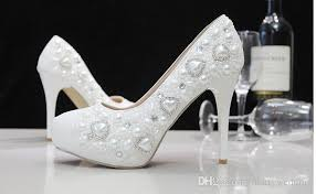 cheap white wedding shoes with heart shape style pearl shoes high