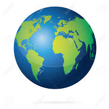 Planet Map Vector Illustration Of Blue Planet Earth With Green Continents