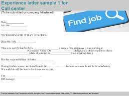 Call Centre Experience Resume Call Center Experience Letter