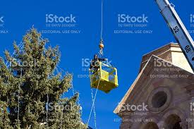 restring christmas tree lights santa fe nm stringing christmas lights on cathedral tree stock photo