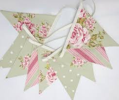 Bunting Flags Wedding Fabric Bunting Sage Green And Pink Cottage Chic Bunting