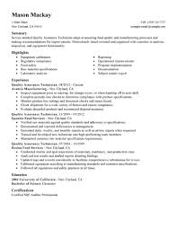 food safety manager resume qa manager resume quality assurance