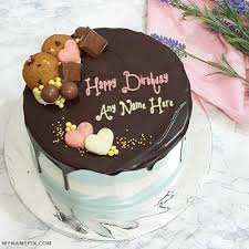 dark chocolate birthday cake with name