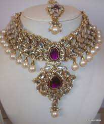 necklace wedding sets images Buy purple white kundan pearl choker gold necklace earring wedding jpg