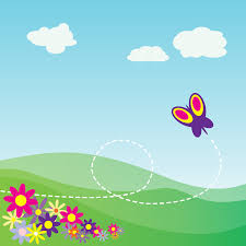 clipart cartoon hillside with butterfly and flowers