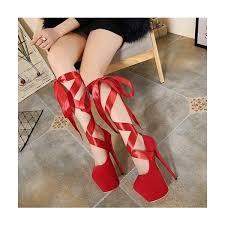 ribbon heels heels suede lace up platform pumps high heel shoes