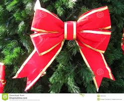 red bow on christmas tree stock images image 2351344