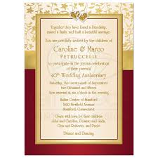 vow renewal wording 40th wedding anniversary invitation red ivory gold floral