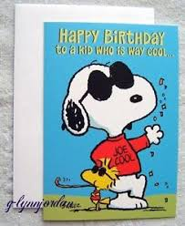 peanuts gang hallmark joe cool snoopy kids birthday card ebay