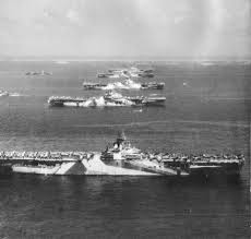 six great carriers in ulithi anchorage read from foreground to