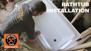 Foam Under Bathtub How To Install A Bathtub Acrylic Kohler Archer Step By Step
