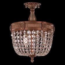 crystal semi flush mount lighting cl winchester 3 light french gold finish crystal semi flush mount