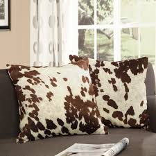 tribecca home decor cow hide print pillow set of 2 dcor cow
