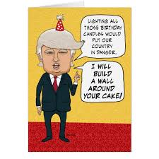 funny birthday donald trump builds a cake wall card zazzle com