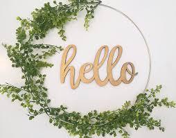 modern wreath wreath hoop wreath summer wreath hello