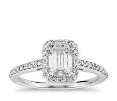 diamond ring cuts emerald cut halo diamond engagement ring in 14k white gold blue nile
