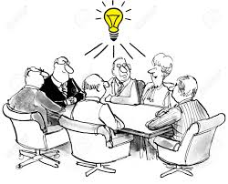 cartoon of business meeting team members have a common new idea