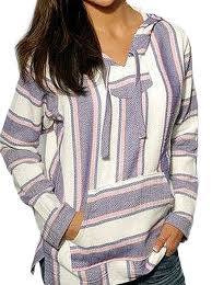 mexican baja hoodie sweater jerga pullover lavender pink white at