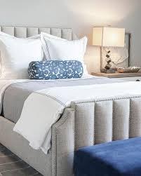 Art Deco Duvet Platinum Gray Art Deco Bed With Blue Bench Transitional Bedroom