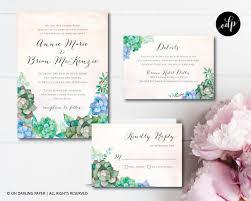 printable wedding invitation succulent invitation watercolor