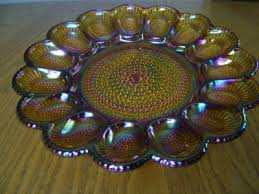 carnival glass egg plate vintage indiana glass deviled egg plate treay 15 slot