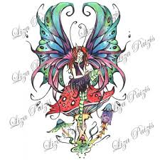 fairy tattoo design gothic style fairy sitting on a mushroom