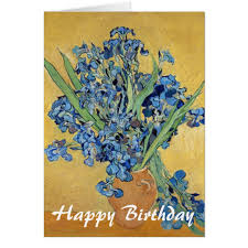 van gogh irises vase blue flowers art birthday card zazzle com