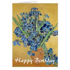 Vase With Irises Van Gogh Irises Vase Blue Flowers Art Birthday Card Zazzle Com