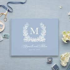 monogrammed wedding guest book blue and white monogram wedding guest book blush paper co