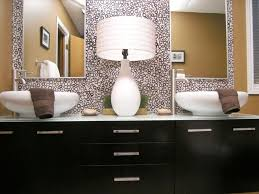 oval bathroom mirror ideas green glass tile backsplash beige