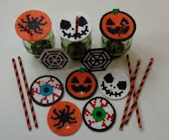 halloween perler straw holder drink covers by joanne schiavoni