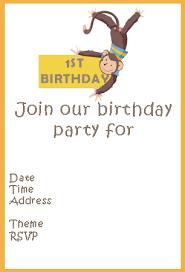 free monkey 1st birthday theme invitations