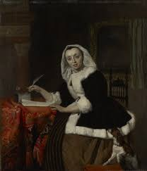 elegant lady writing at her desk the leiden collection