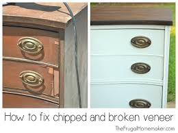 how to refinish veneer table dresser makeover how to fix chipped veneer deal with wood stain