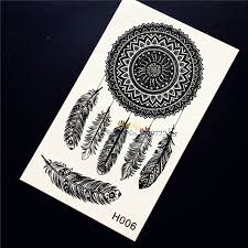 chic henna dreamcatcher indian feather temporary tattoo sticker