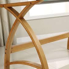 Oak Laptop Desk Modern Simple Glasstop Desk Oak Wooden Workstation